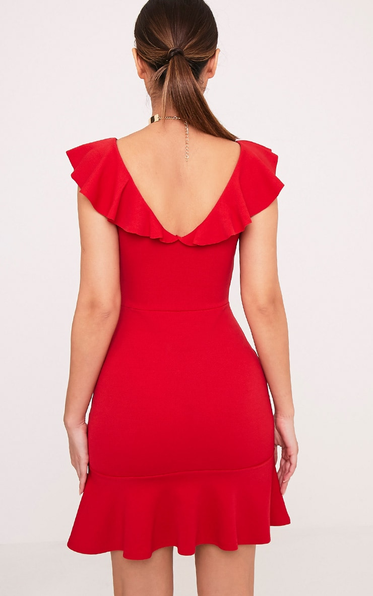 Luissi Red Frill Detail Bodycon Dress 2