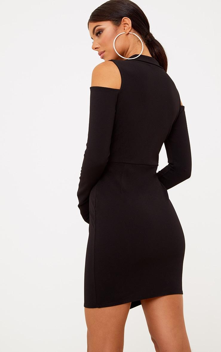 Black Cold Shoulder Blazer Dress 2