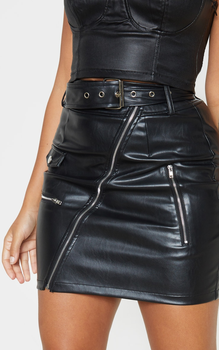Petite Black Faux Leather Biker Belted Mini Skirt 7