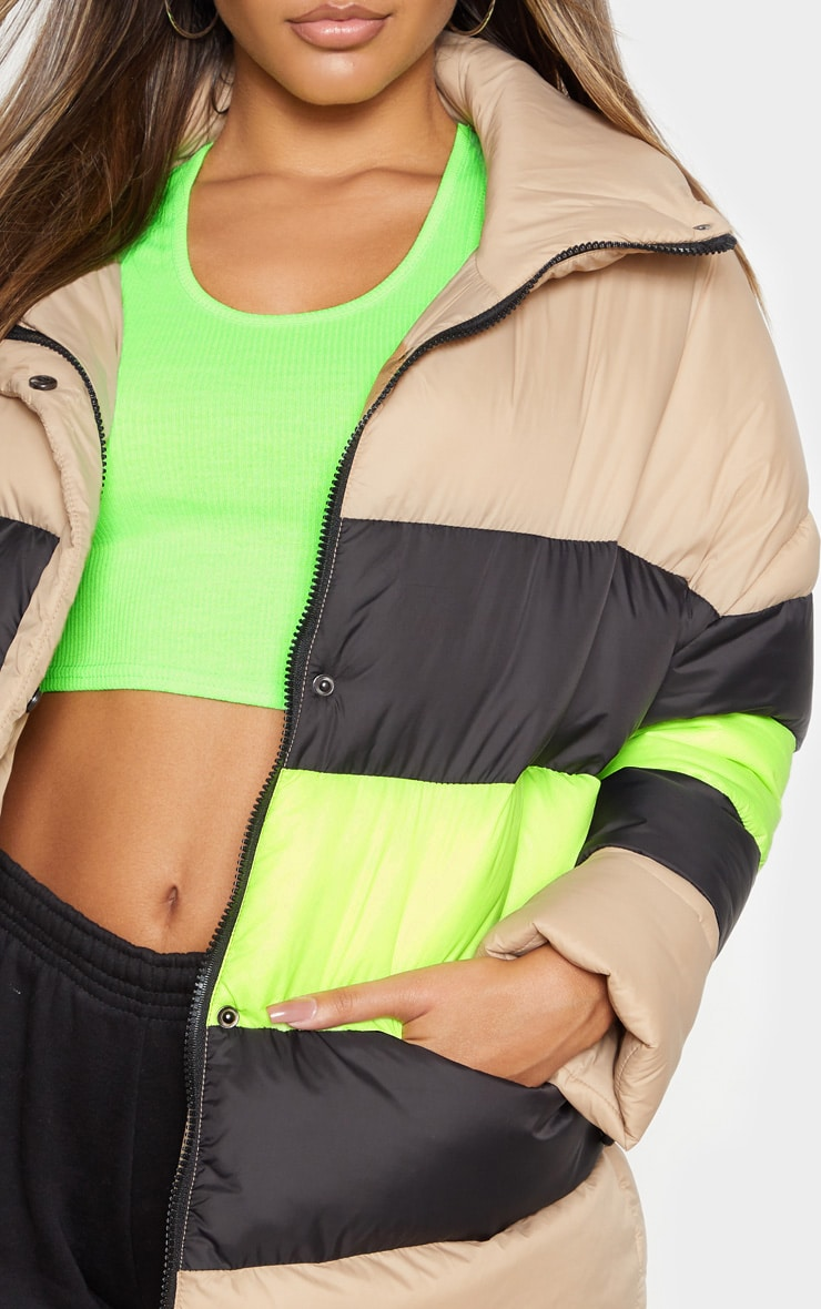 Camel Color Block Panel Puffer 5