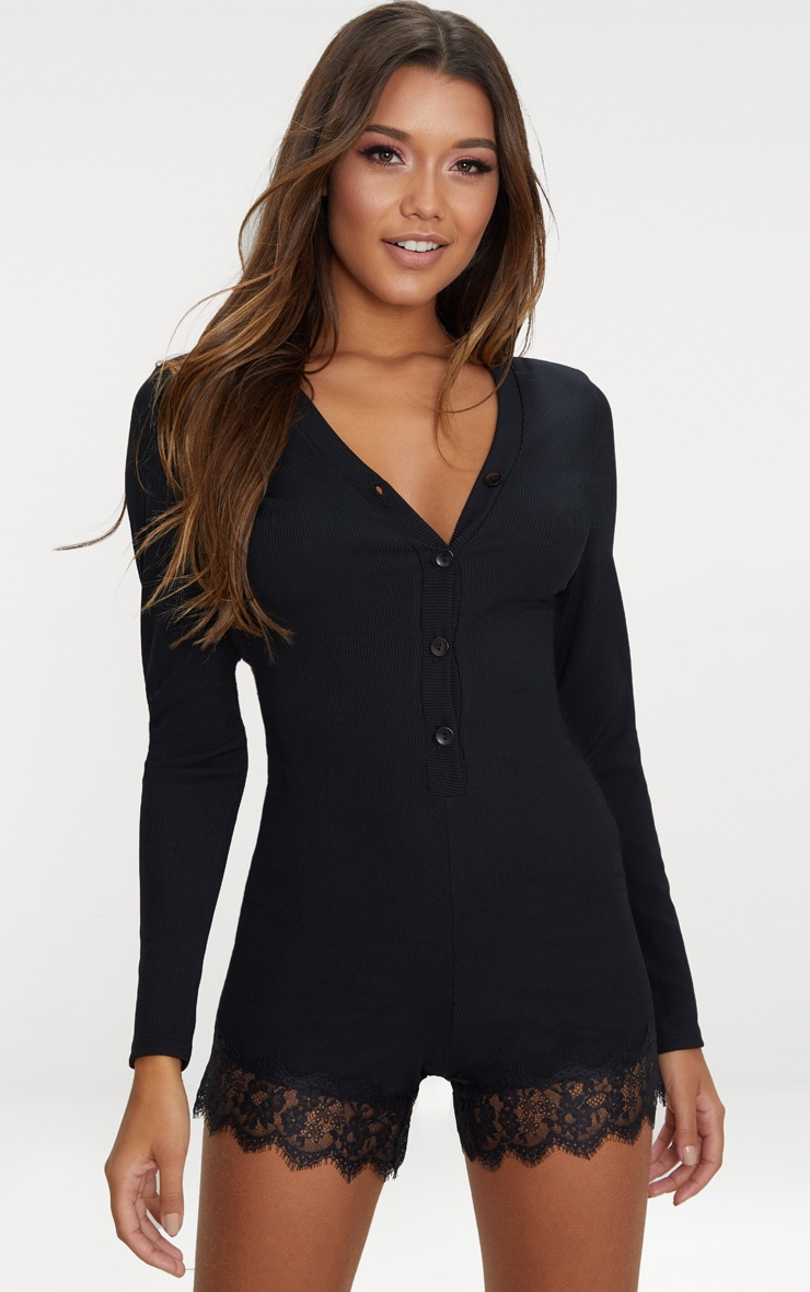 Black Ribbed Lace Trim PJ Romper 1