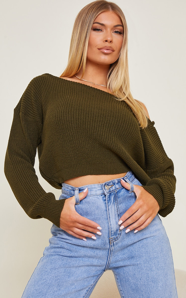 Khaki Off The Shoulder Crop Sweater 1