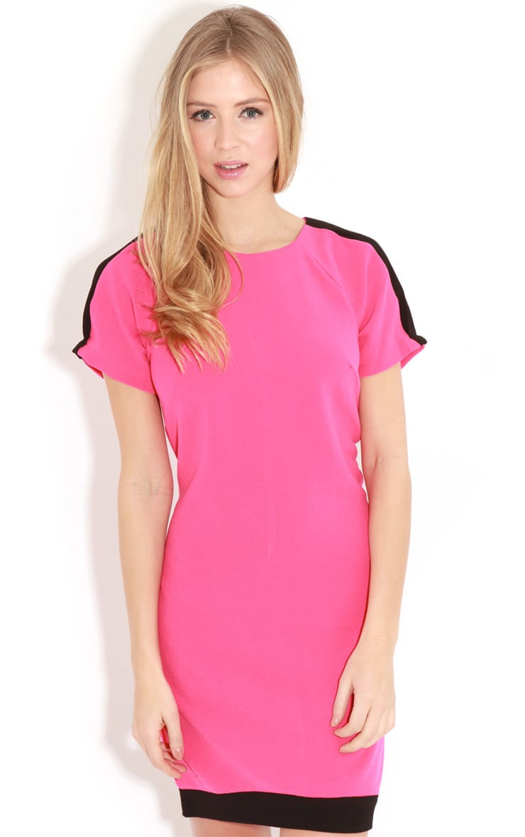 Kenzie Fuschia & Black Shift Dress 1