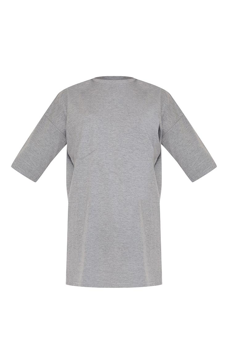 PRETTYLITTLETHING Grey Marl Slogan Pocket Detail Oversized T Shirt Dress 5