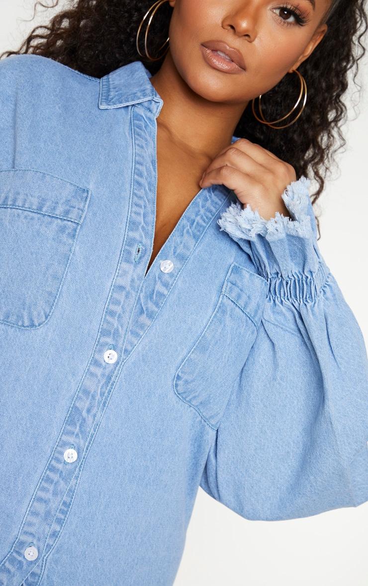 Plus Light Wash Denim Fray Hem Shirt Dress 4