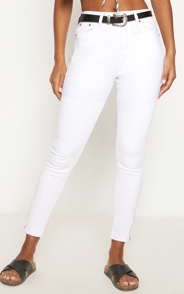 White High Waisted 5 Pocket Ankle Grazer Skinny Jean 2