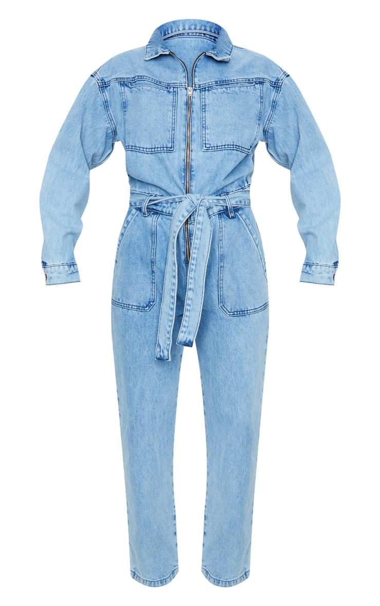 Acid Blue Wash Oversized Denim Jumpsuit 5