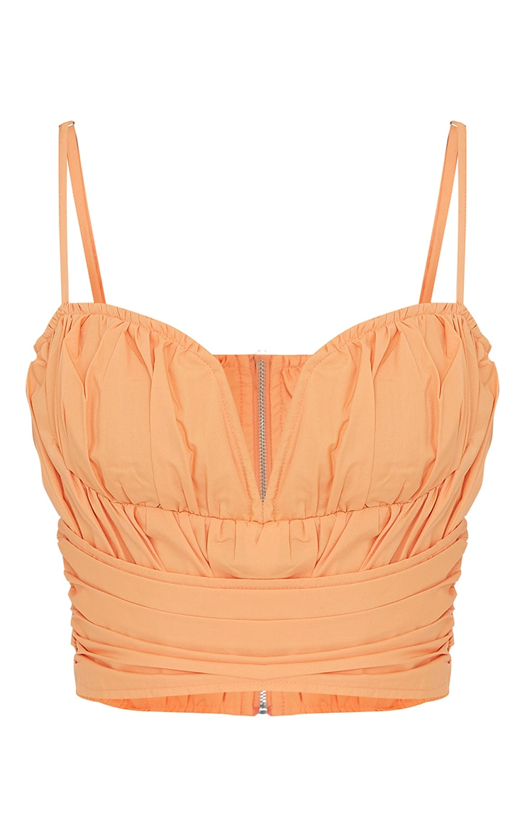Orange Ruched Woven Pleated Structured Waist Corset 5