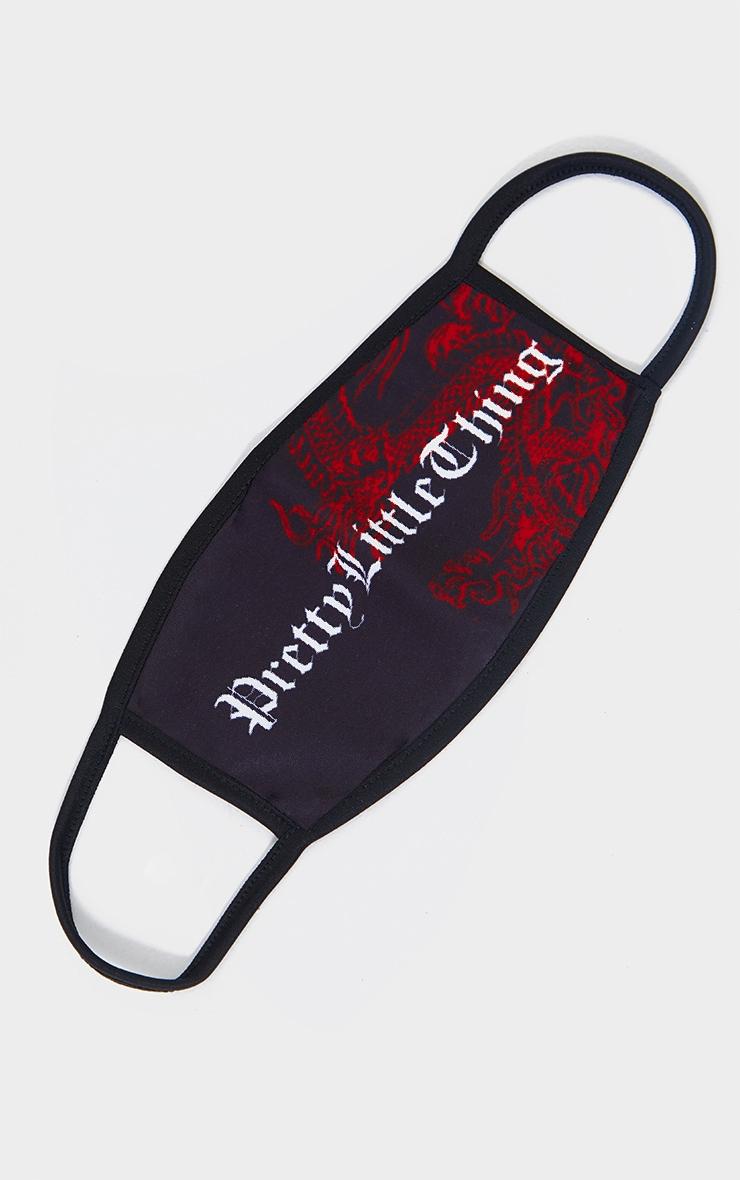 PRETTYLITTLETHING - Masque noir à imprimé dragon et lettres gothiques 1