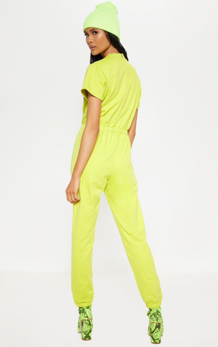 Lime Short Sleeve Crew Neck Sweat Jumpsuit 2