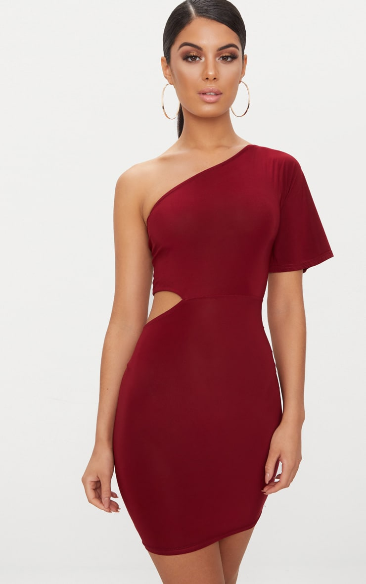 Burgundy One Shoulder Cut Out Side Bodycon Dress 1