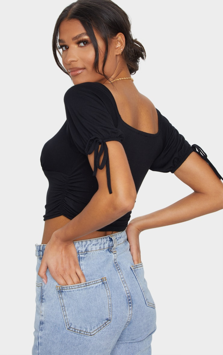 Black Jersey Ruched Square Neck Crop Top 2