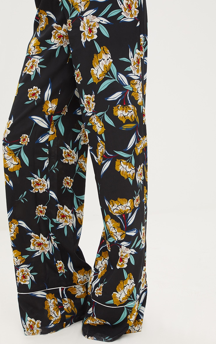 Black Contrast Piping Floral Wide Leg Trousers 5