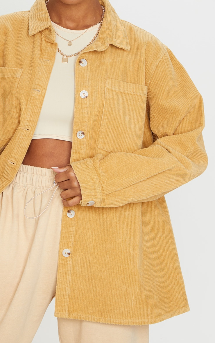 Tan Jumbo Cord Long Sleeve Denim Shacket 4