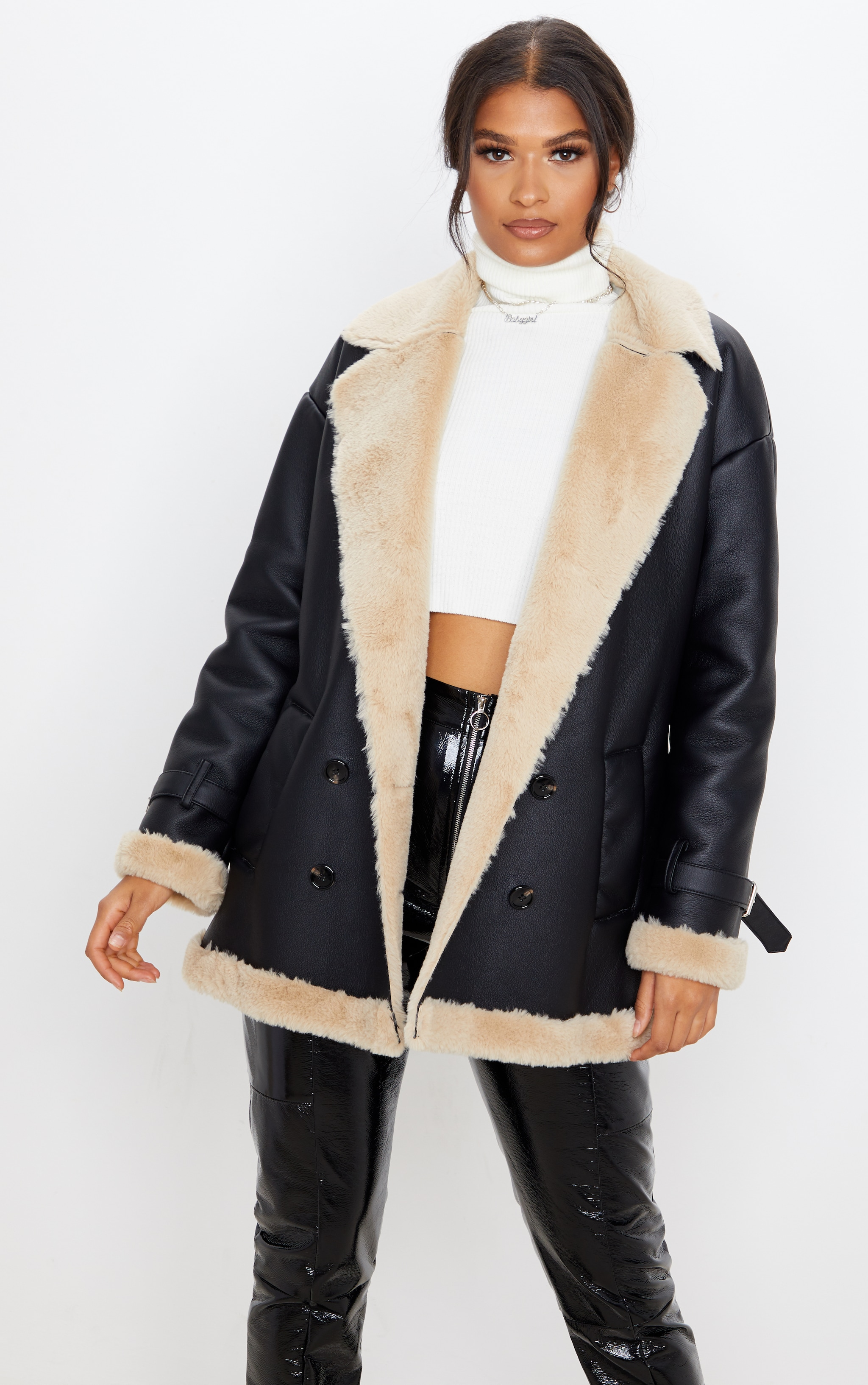 Black PU Faux Fur Trim Vintage Style Coat 2