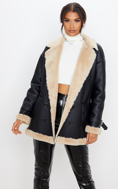 Black PU Faux Fur Trim Vintage Style Coat
