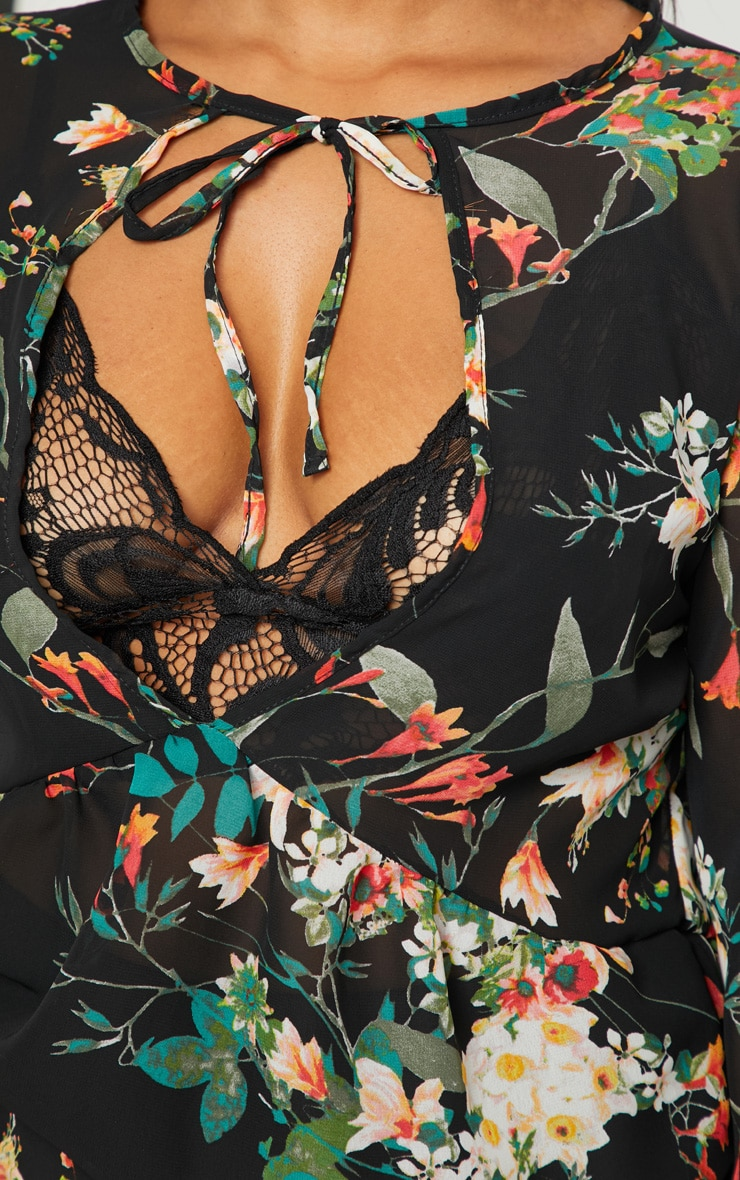 Plus Black Floral Chiffon Blouse 5
