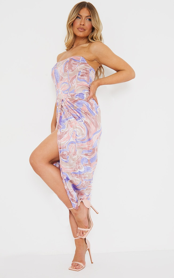 Multi Swirl Print Corset Draped Bandeau Midi Dress 3