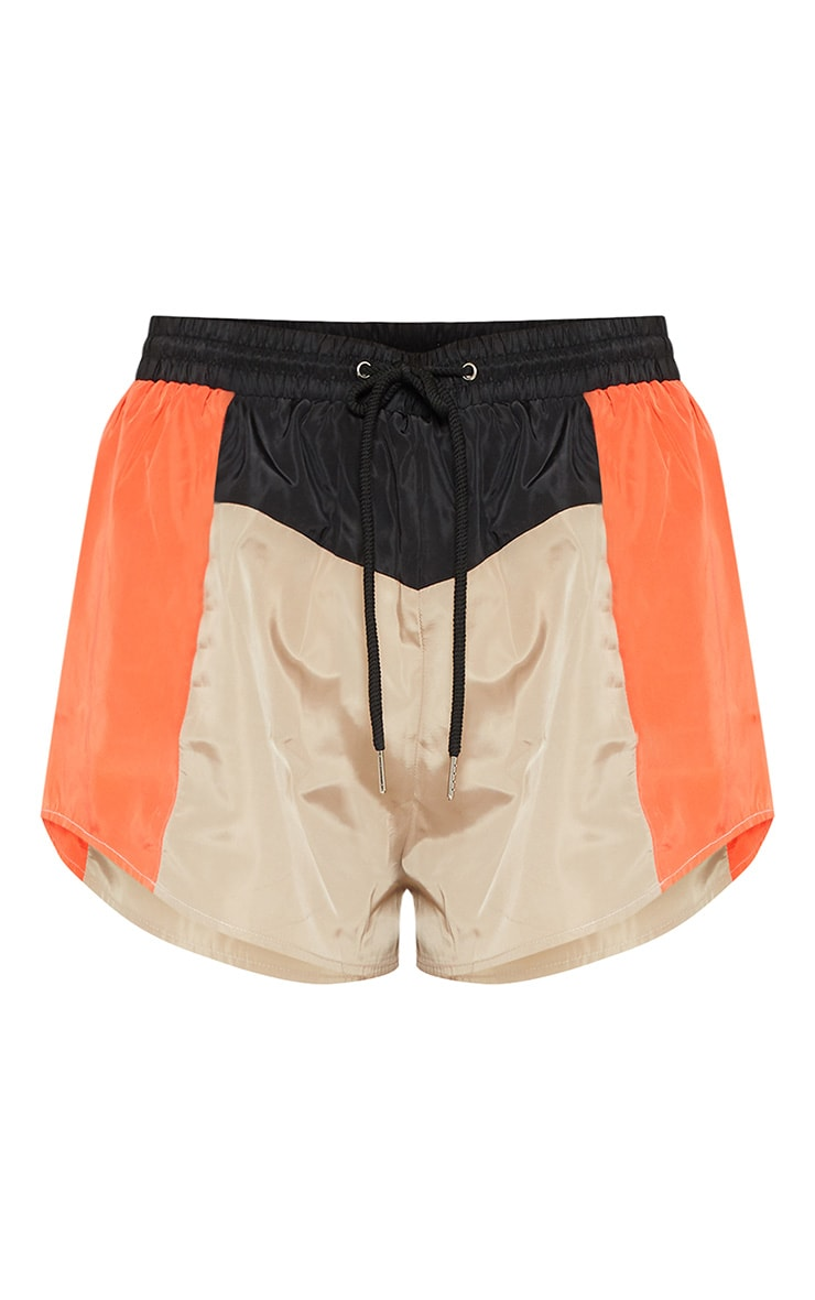 Stone Colour Block Shell Suit Short 3