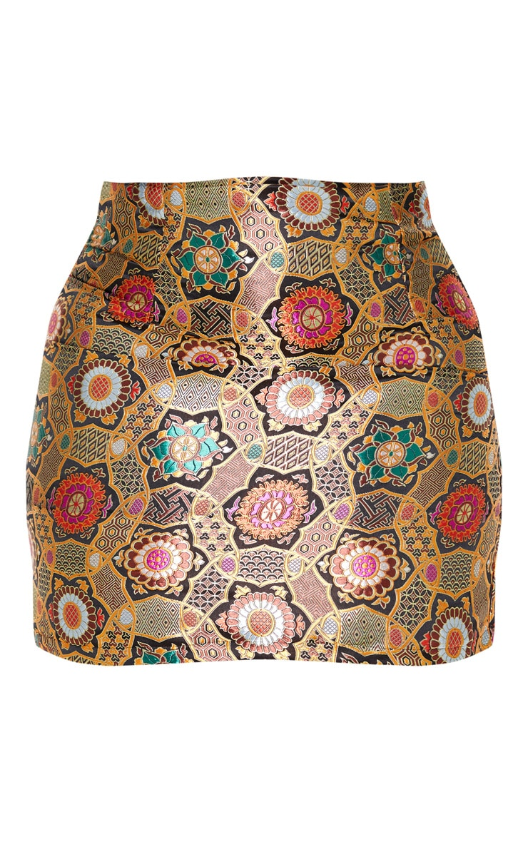 Plus Gold Jacquard Bodycon Skirt 3