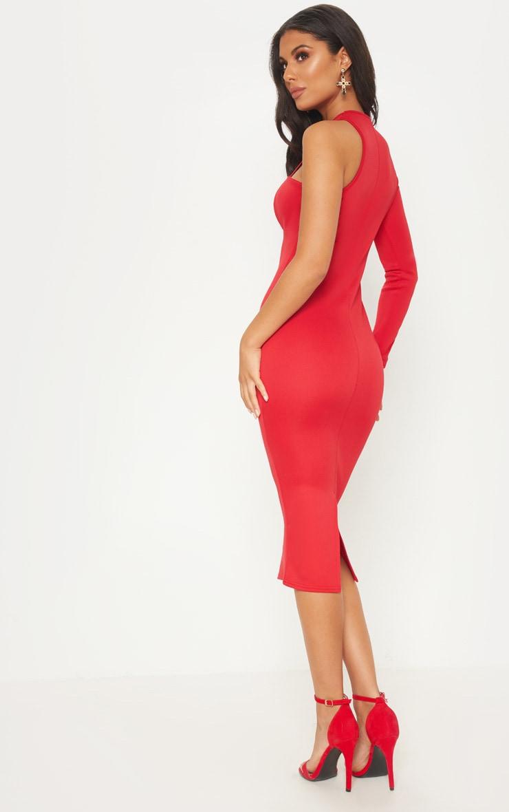 Red Asymmetric Sleeve Midi Dress 2