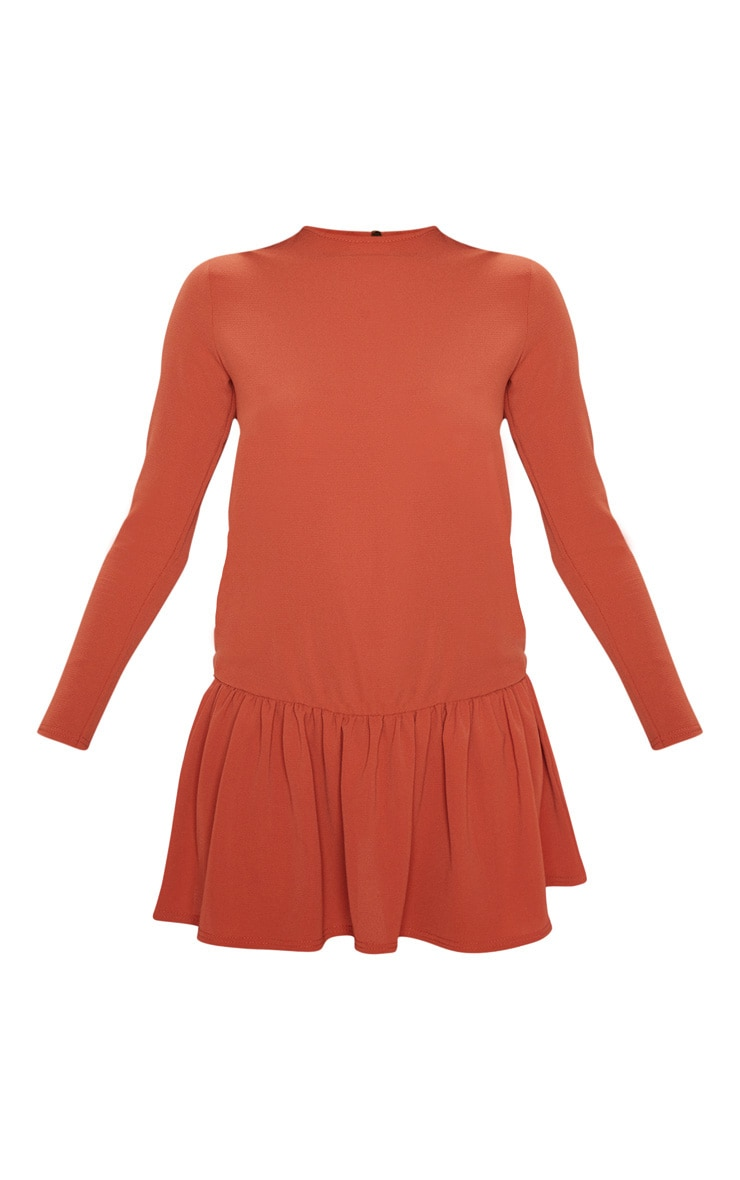Rust Long Sleeve Frill Hem Shift Dress 3