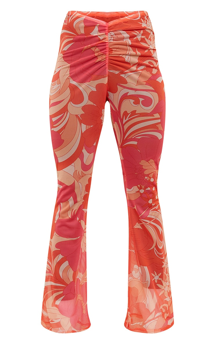 Pink Floral Ruched Mesh Beach Flares 6