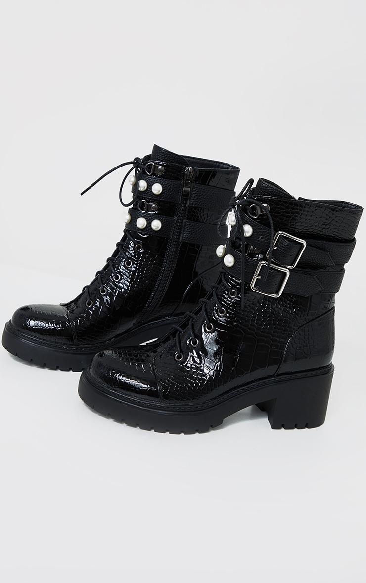 Black Snake Pu Pearl Trim Double Strap Biker Boots 3