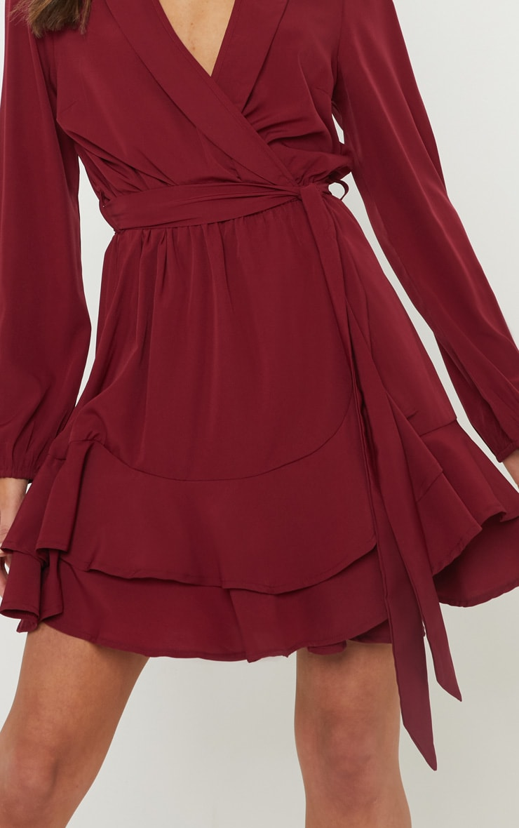 Burgundy Tie Waist Frill Hem Dress 5