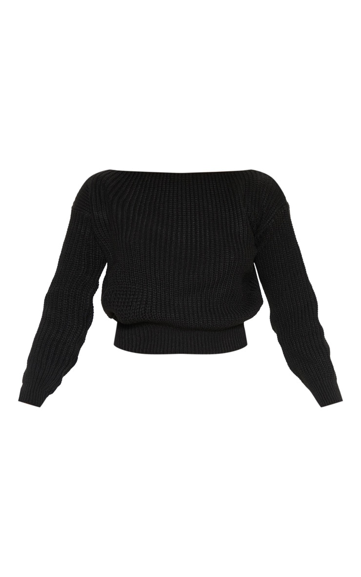 Christiana Black Mixed Knit Slash Neck Crop Sweater 3