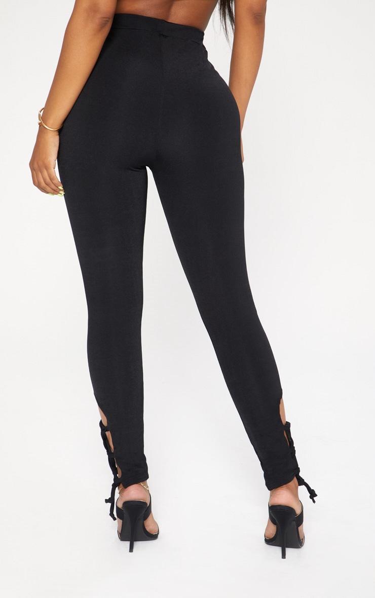 Shape Black Slinky Lace Up Detail High Waist Leggings 4