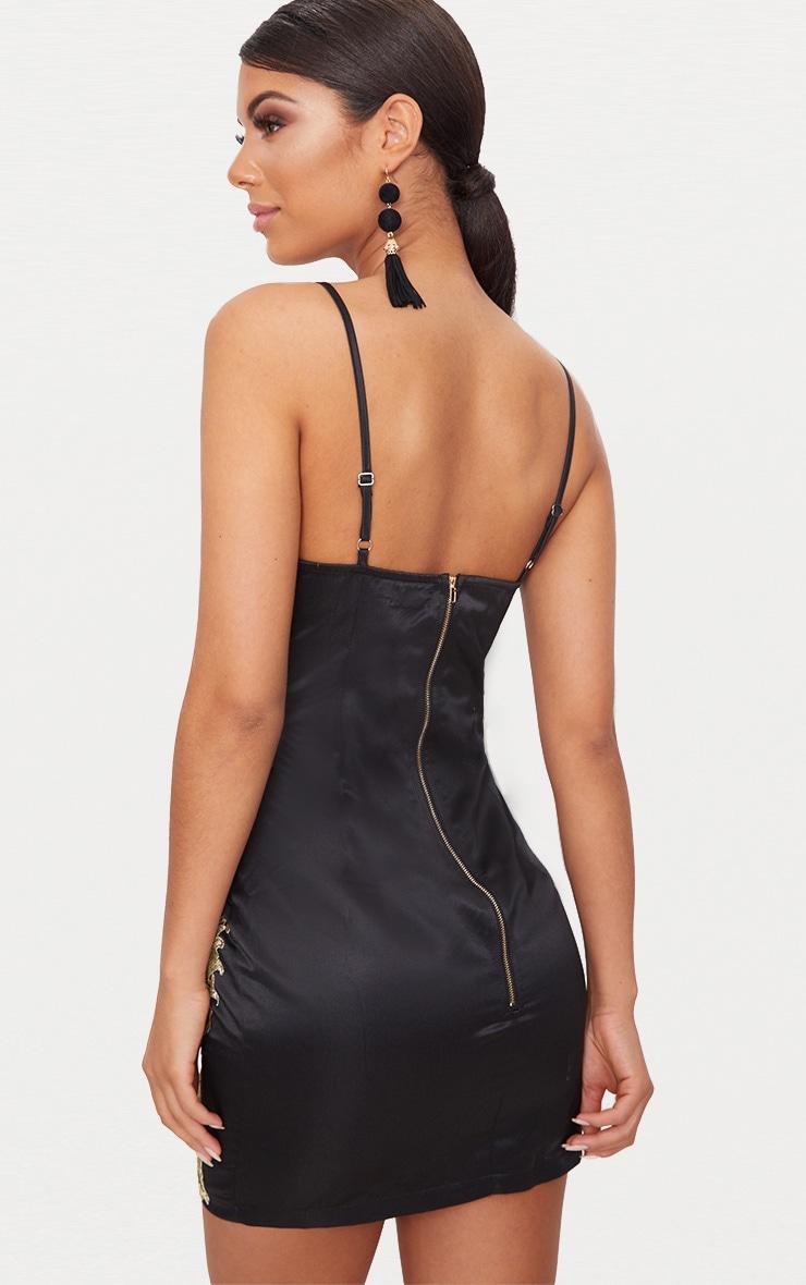 Black Satin Gold Applique Bodycon Dress 2