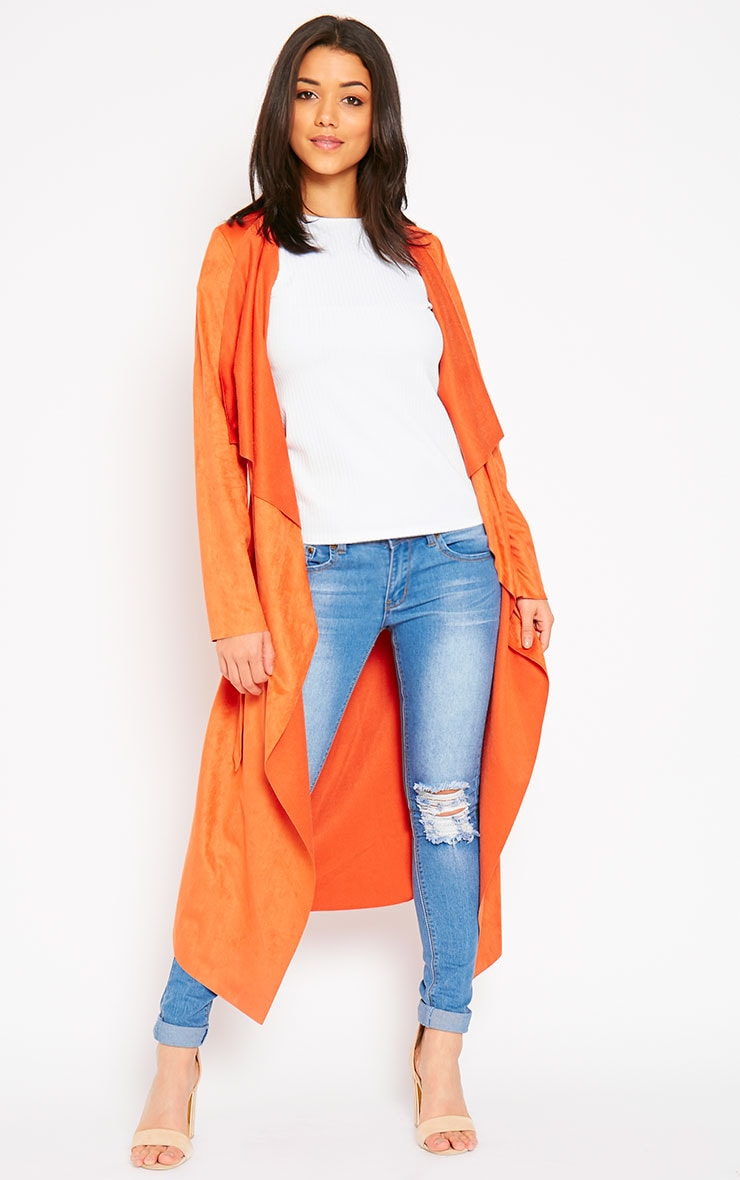 Liberty Orange Suede Waterfall Coat 4