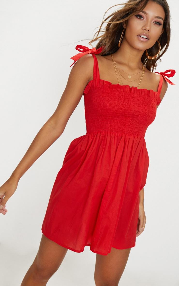 3d3cd147d7 Red Tie Strap Frill Detail Skater Dress image 1