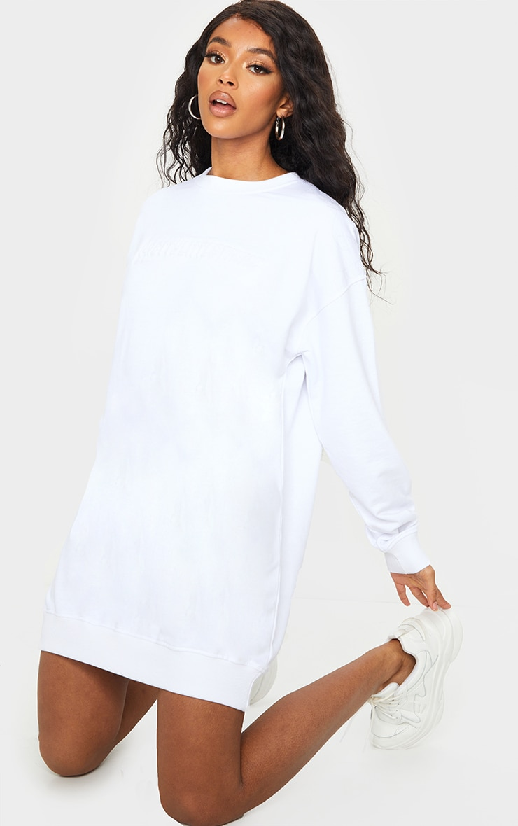 PRETTYLITTLETHING White Embossed Slogan Sweater Dress 3