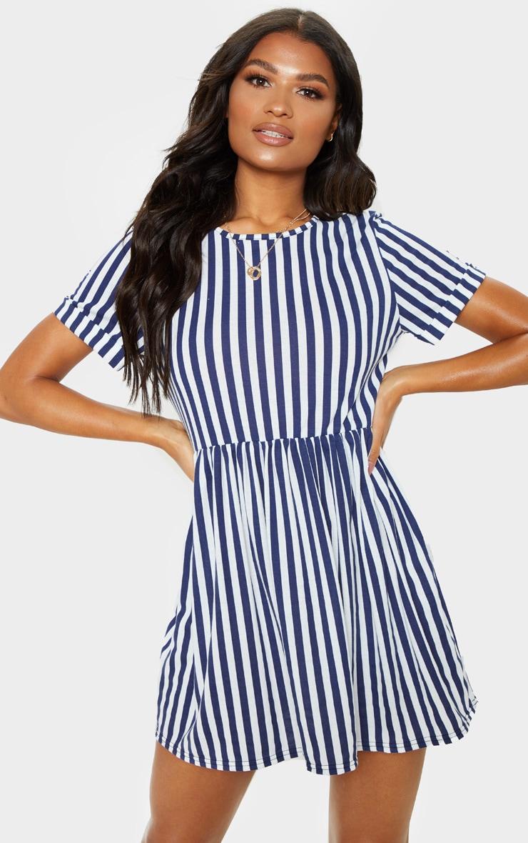 1f6cb32fd142 Navy Stripe Short Smock Dress | Dresses | PrettyLittleThing