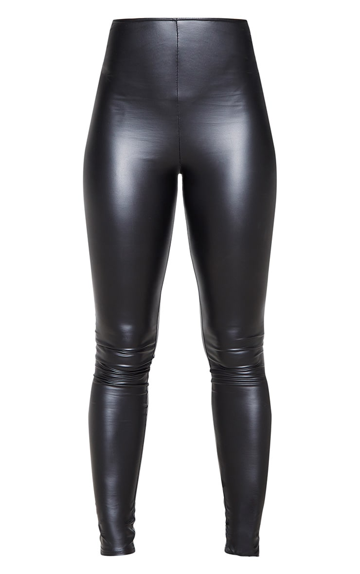 Tall Black V Front PU Legging 3
