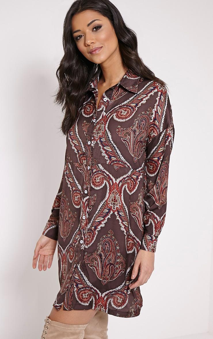 Hazelle Brown Paisley Shirt Dress 4