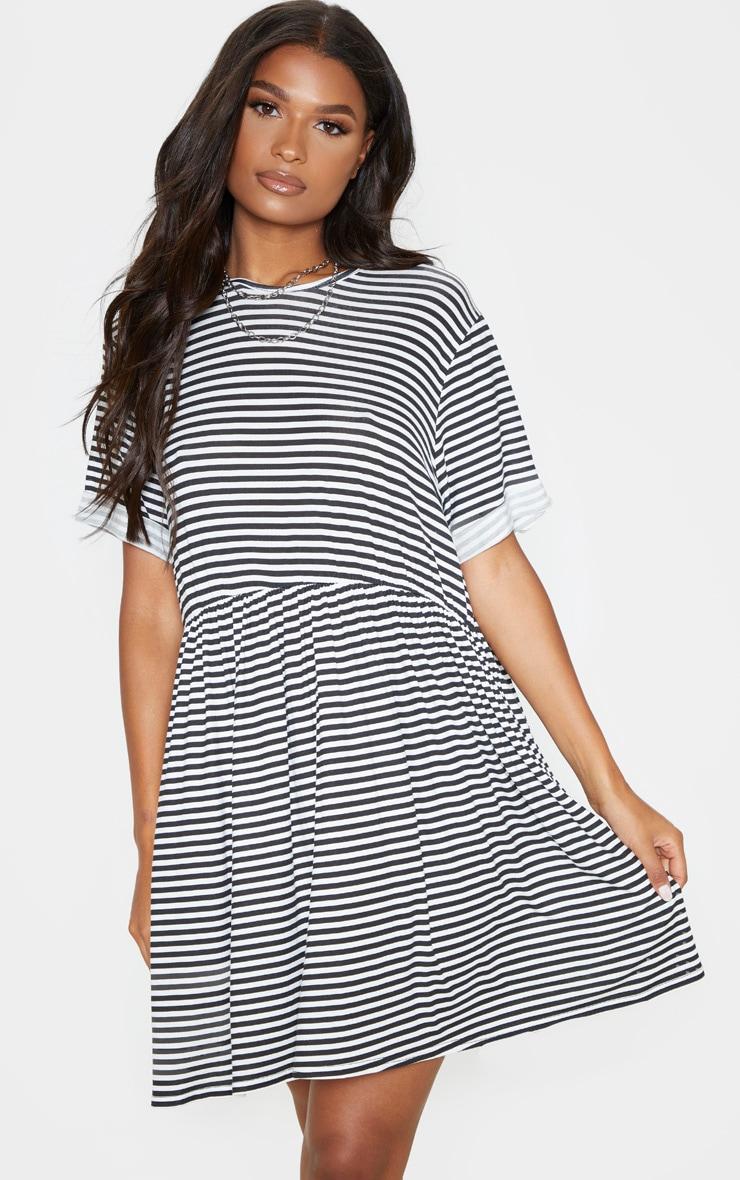 Cream Contrast Stripe Roll Sleeve Smock Dress 4