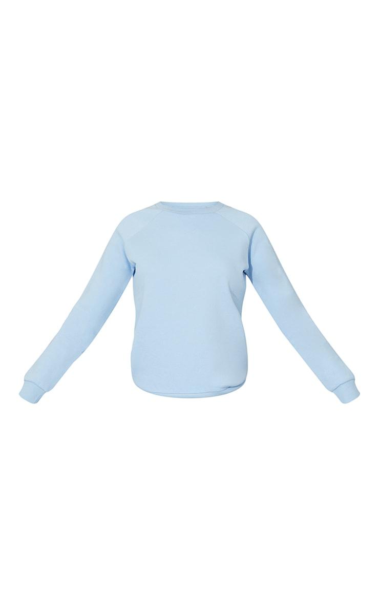 Recycled Pale Blue Basic Slim Sweatshirt 5