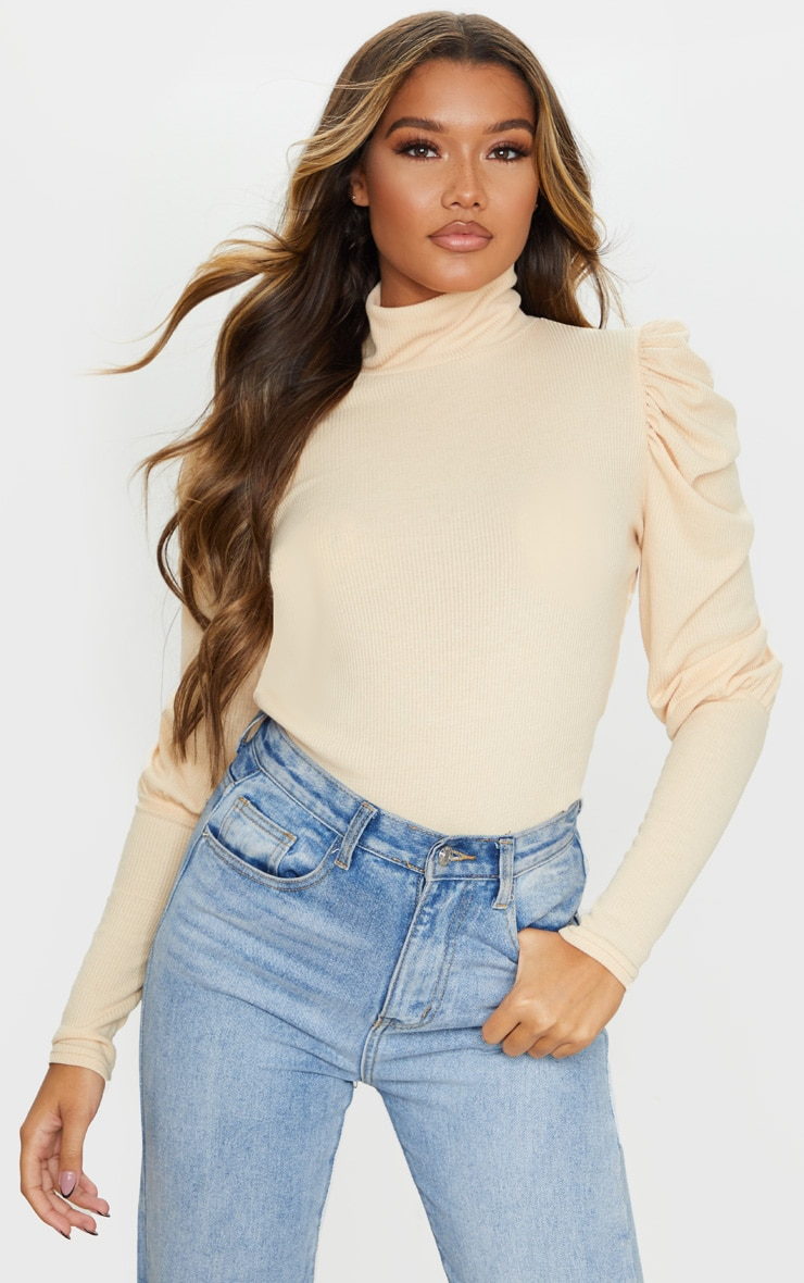 Sand Rib Puff Sleeve Long Top 1