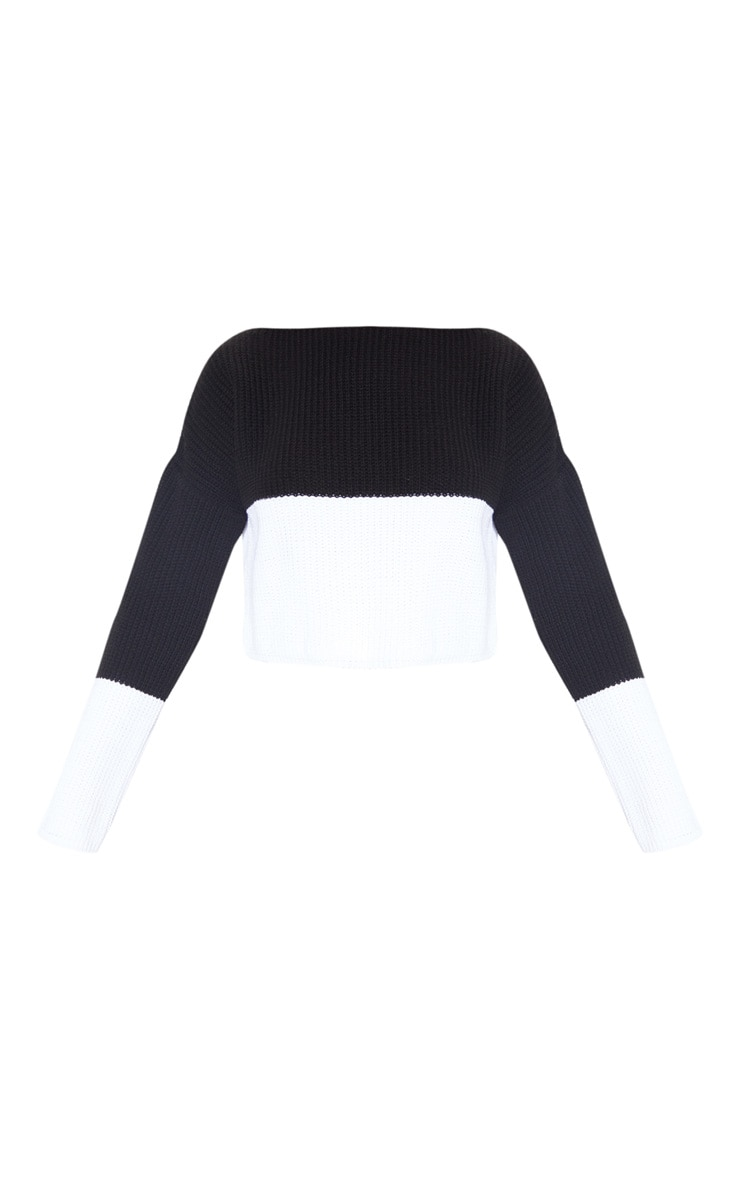 Black Monochrome Colour Block Jumper 3