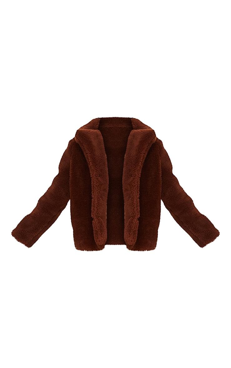 Brown Faux Fur Popper Button Down Jacket 5