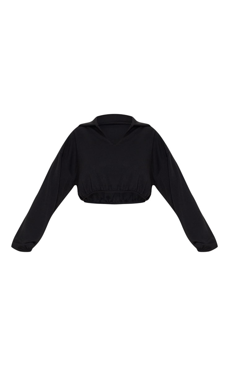 Black Collar Plunge Crop Long Sleeve Sweater 3