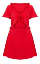 2ba1d6d481a Red Frill Cut Out Tea Dress image 3
