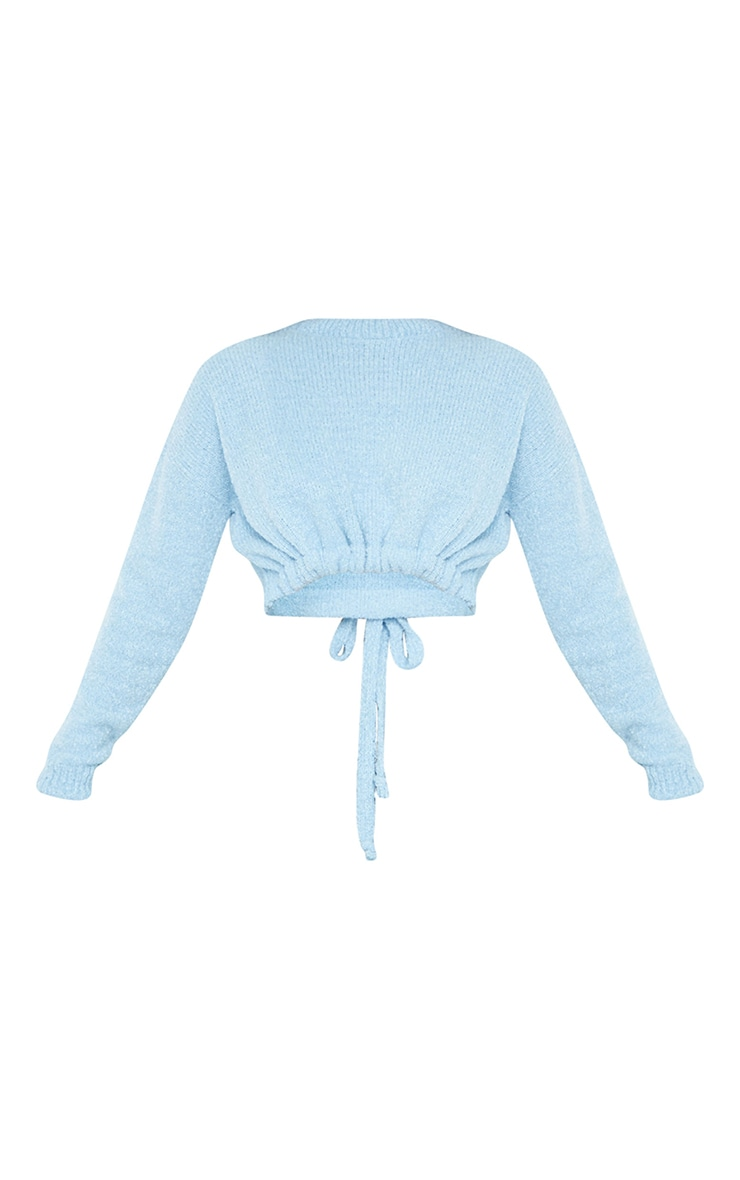 Baby Blue Drawstring Knitted Boucle Crop Sweater 5