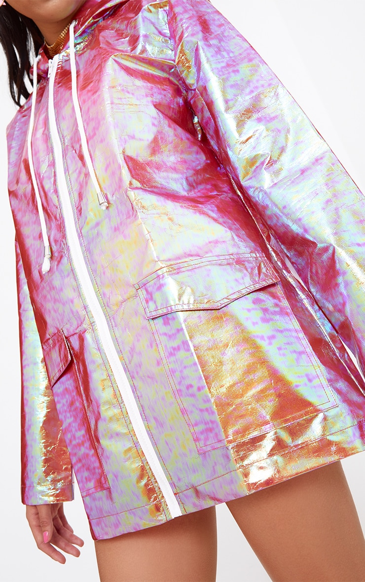 Cobie Gold Holographic Rain Mac 5