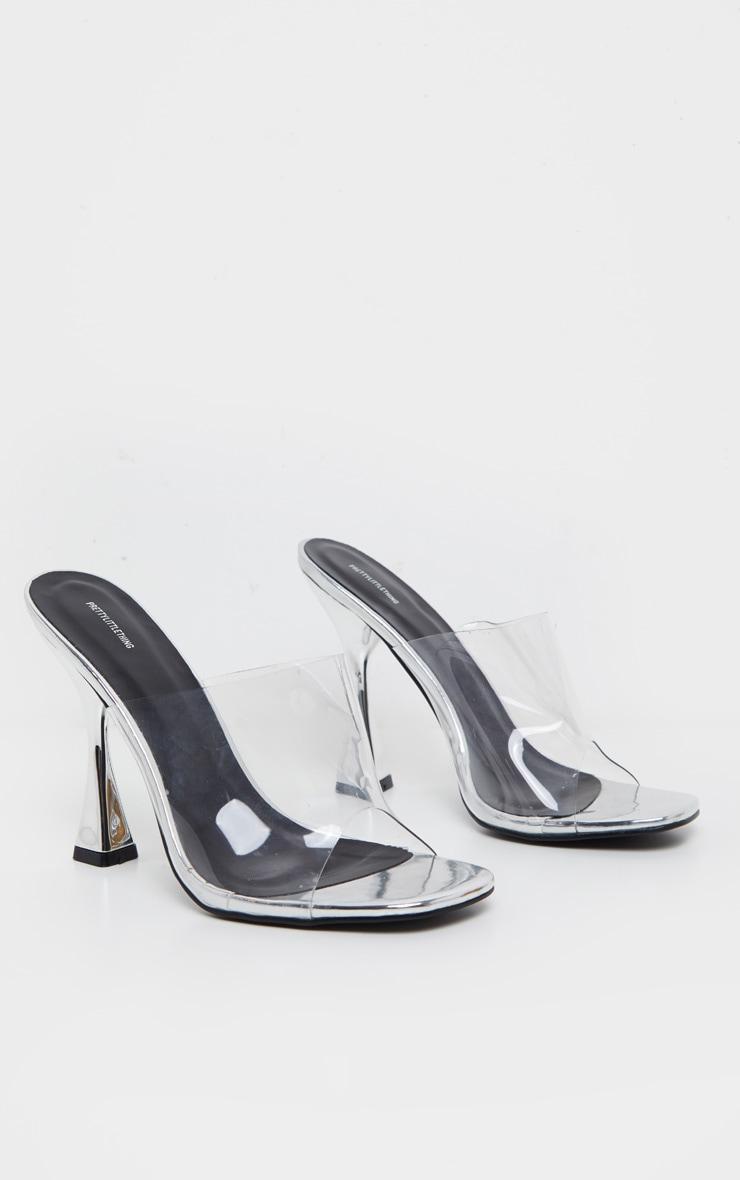 Silver Flare Heel Mule Sandal 3