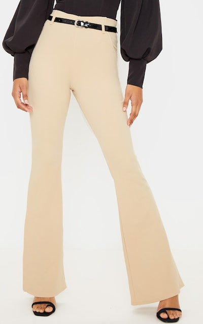 Stone Flared Belted Trouser