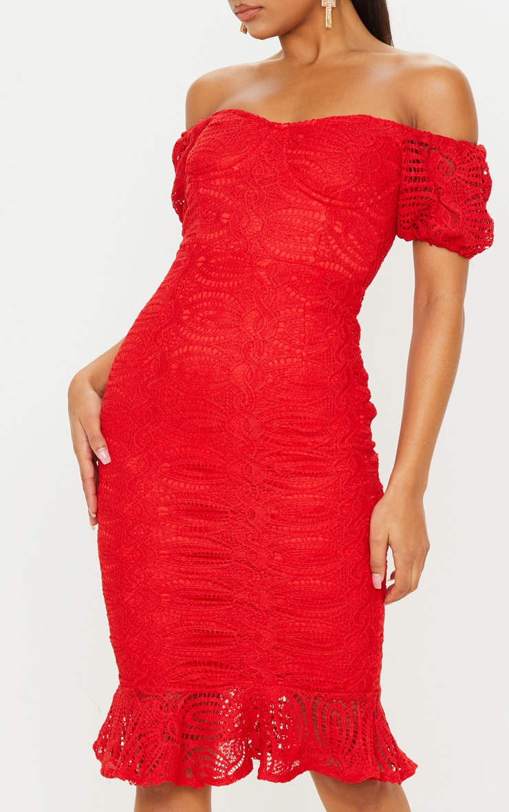 Red Cup Detail Lace Bardot Midi Dress 5